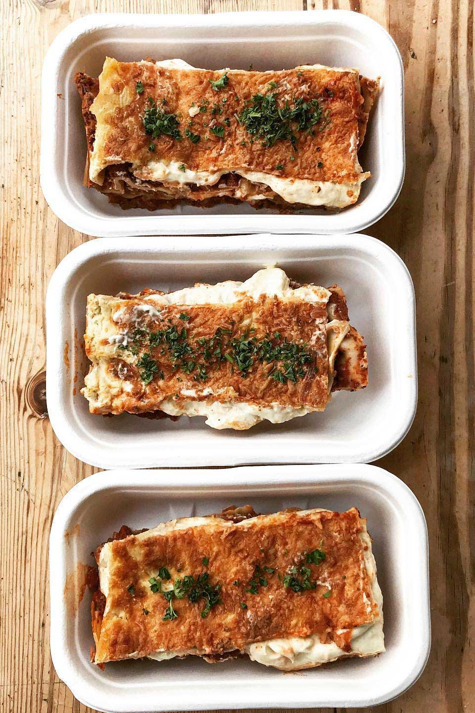 Three lasagnes from our Heat up at Home menu.